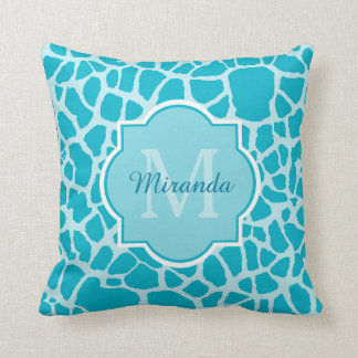 Modern Turquoise Giraffe Print Monogram With Name Throw Pillow