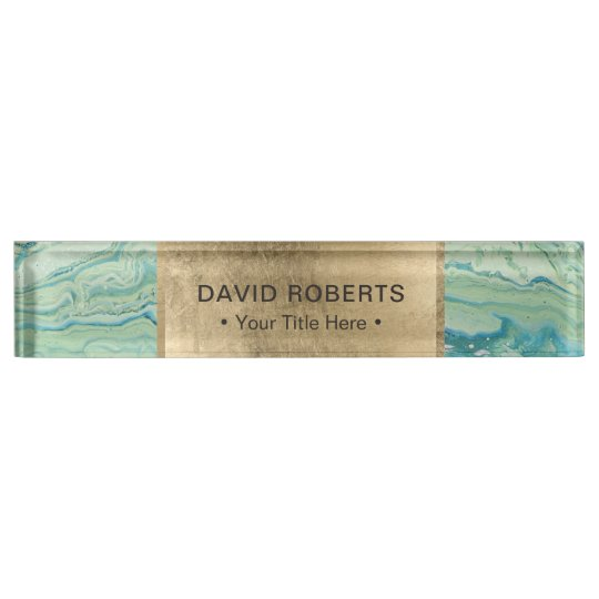 Modern Turquoise & Gold Aesthetic Nameplate