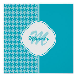 Modern Turquoise Houndstooth Monogram and Name Poster