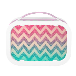 Modern Turquoise Ombre Chevron Pattern Lunch Box