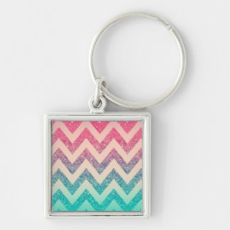 Modern Turquoise Ombre Chevron Silver-Colored Square Keychain
