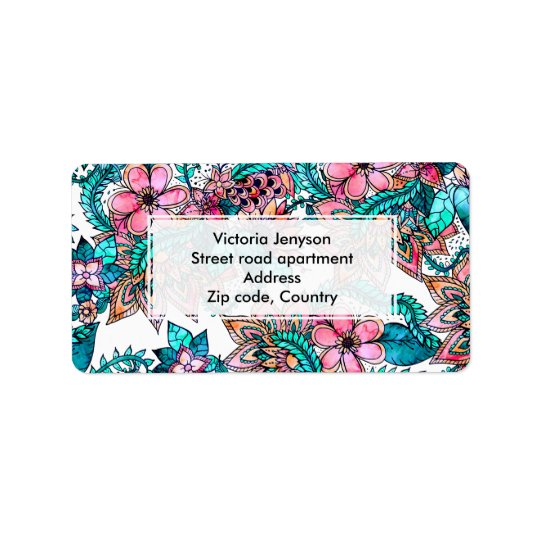 Modern turquoise pink floral watercolor