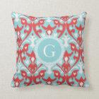 Modern turquoise red ikat tribal pattern monogram throw pillow