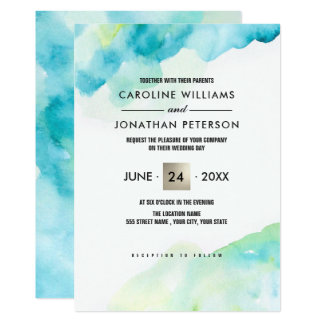 Modern Turquoise Watercolor Wedding Invitations