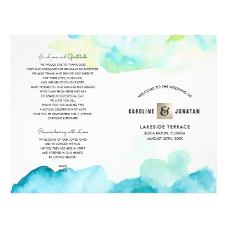 Modern Turquoise Watercolor Wedding Programs