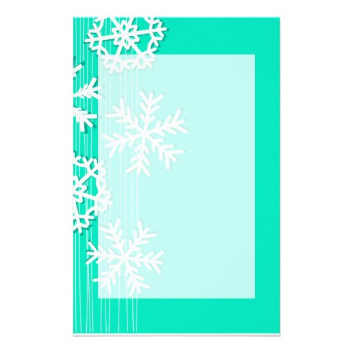 Modern turquoise white Christmas white snowflakes Stationery Design