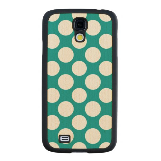 Modern Turquoise White Polka Dots Pattern Carved® Maple Galaxy S4 Slim Case