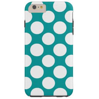 Modern Turquoise White Polka Dots Pattern Tough iPhone 6 Plus Case