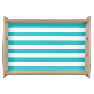 Modern Turquoise White Stripes Pattern Serving Tray