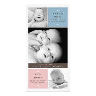 Modern Twin Babies Photo Birth Announcement Card