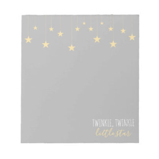Modern Twinkle Little Star Baby Shower Notepad