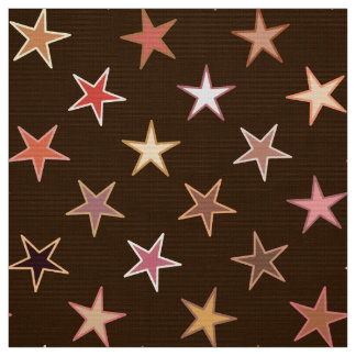 Modern Twinkling Stars, Chocolate Brown and Tan Fabric