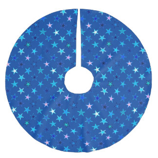 Modern Twinkling Stars, Cobalt Blue and Turquoise Brushed Polyester Tree Skirt