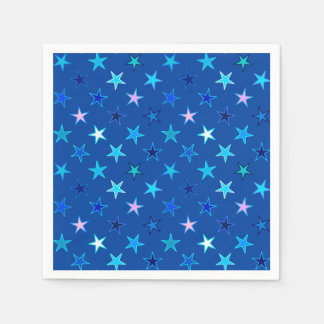 Modern Twinkling Stars, Cobalt Blue and Turquoise Paper Napkin