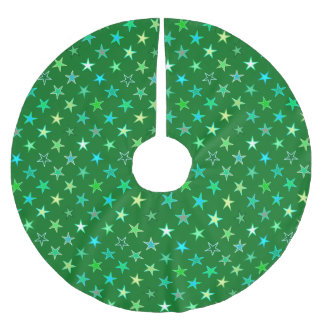 Modern Twinkling Stars, Emerald and Lime Green Brushed Polyester Tree Skirt