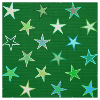 Modern Twinkling Stars, Emerald and Lime Green Fabric