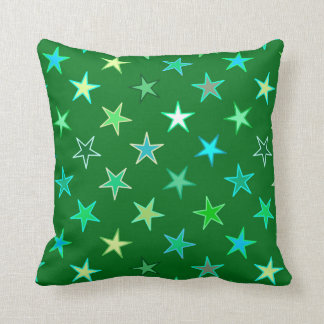 Modern Twinkling Stars, Emerald and Lime Green Throw Pillow