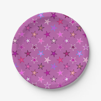 Modern Twinkling Stars, Violet, Plum and Pink Paper Plate