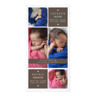 Modern Twins Photo Boy Girl Birth Announcement Photo Cards