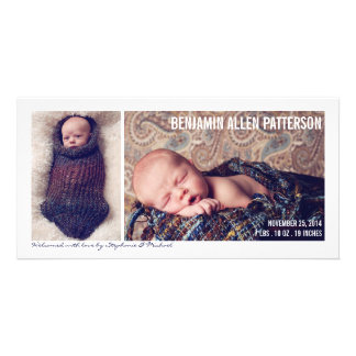 Modern Two Photo Baby Boy Birth Announcement Card