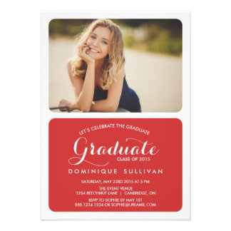 MODERN TWO PHOTO GRADUATION PARTY INVITATION | RED