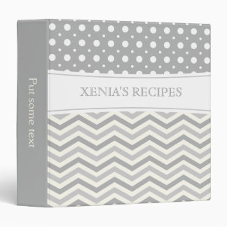 Modern two tone grey, white chevron & polka dot vinyl binders