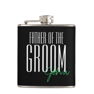 Modern Type Father of the Groom Personalized Hip Flask