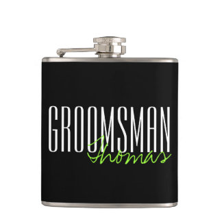Modern Type Groomsman Personalized Bridal Party Hip Flask