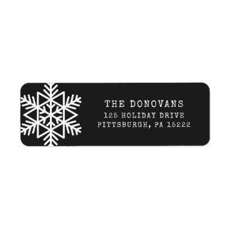 Modern Typewriter | Black and White Snowflake Return Address Label