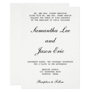 Modern Typewritten and Classic Wedding Script Card