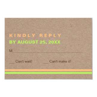 Modern typography and stripes rustic wedding RSVP Card