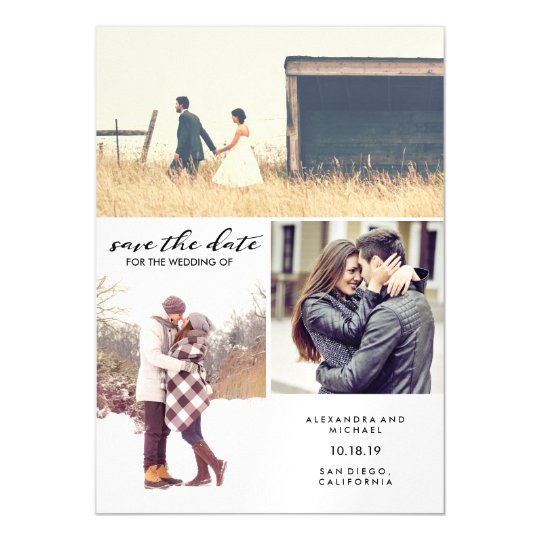 Modern Typography and Three Photo Save the Date Magnetic Card