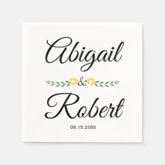Modern typography and yellow flowers wedding napkin