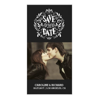MODERN TYPOGRAPHY | BLACK | SAVE THE DATE CARD PERSONALIZED PHOTO CARD