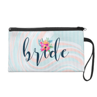 Modern Typography Bride Abstract Background Wristlet