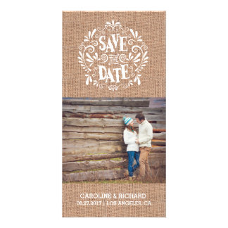 MODERN TYPOGRAPHY   BURLAP   SAVE THE DATE CARD PHOTO CARD