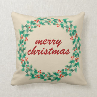 Modern Typography Christmas Berry Wreath  Holiday Throw Pillow