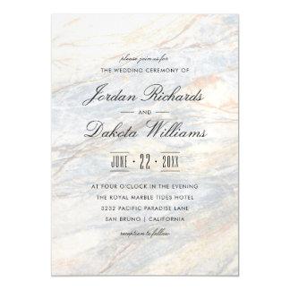 Modern Typography & Elegant Marble Wedding Magnetic Card