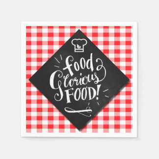 Modern Typography Foodie Lover Chalkboard Theme Napkin