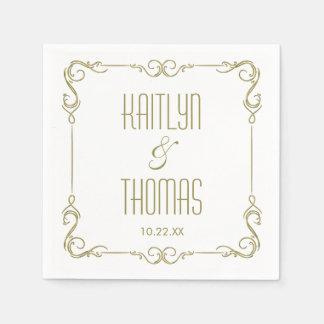 Modern Typography Gold Frame Wedding Disposable Napkin