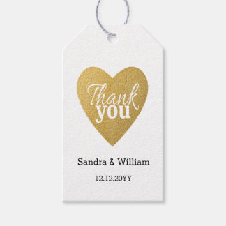 Modern Typography Golden Wedding Thank You Gift Tags