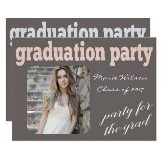 Modern Typography Graduation Party Photo Card