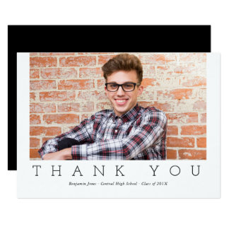 Modern Typography Graduation Thank You Photograph Card