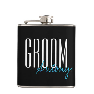 "Modern Typography ""Groom"" Wedding Party Hip Flask"