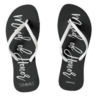 "Modern Typography ""Maid of Honor"" Flip Flops"