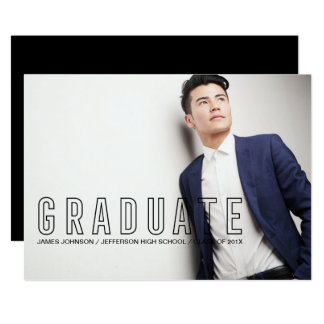 Modern Typography Masculine Graduation Photo Card