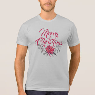 Modern Typography Merry Christmas Floral Accent T-Shirt