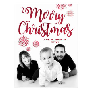 Modern Typography | Merry Christmas Script | Photo Postcard