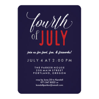 Modern Typography Patriotic 4th of July Party Card