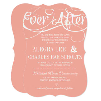 Modern Typography Peach Ever After Chalkboard Card